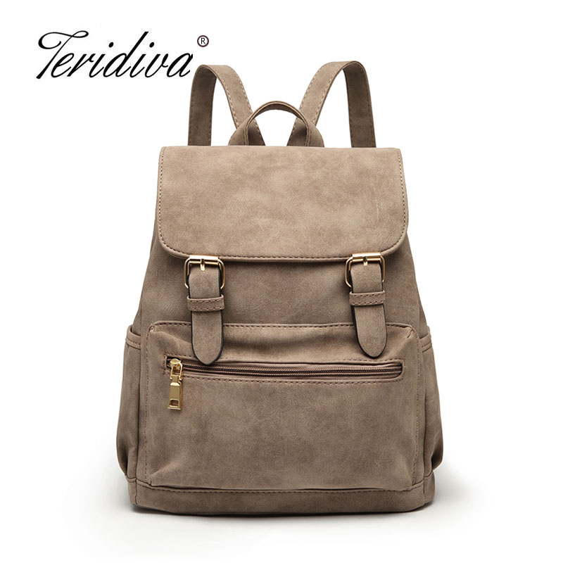 Teridiva New Brand Vintage Women Backpack Nubuck Leather School Backpacks for Teenage Girls Casual Large Capacity Shoulder Bags brand women backpack pu leather school backpacks for teenage girls shoulder bag large capacity travel bags