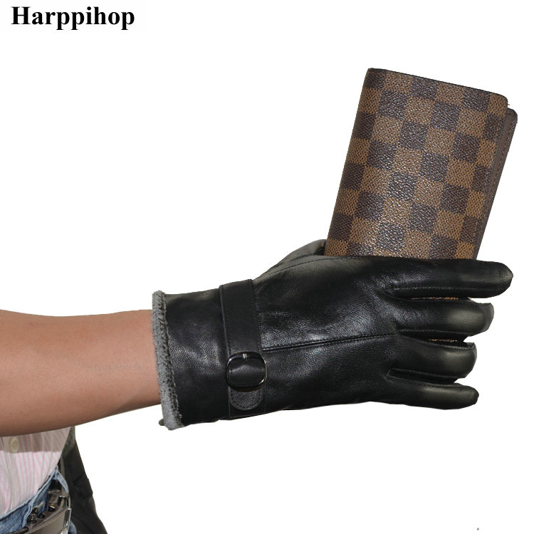 Genuine leather thermal deerskin gloves mens business casual winter thickening