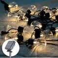 Al aire libre 20 led cadena luz de hadas 10 m globo de la bola de energía solar luz de hadas de la secuencia de la Navidad guirnalda de la boda fiesta en el jardín decoración