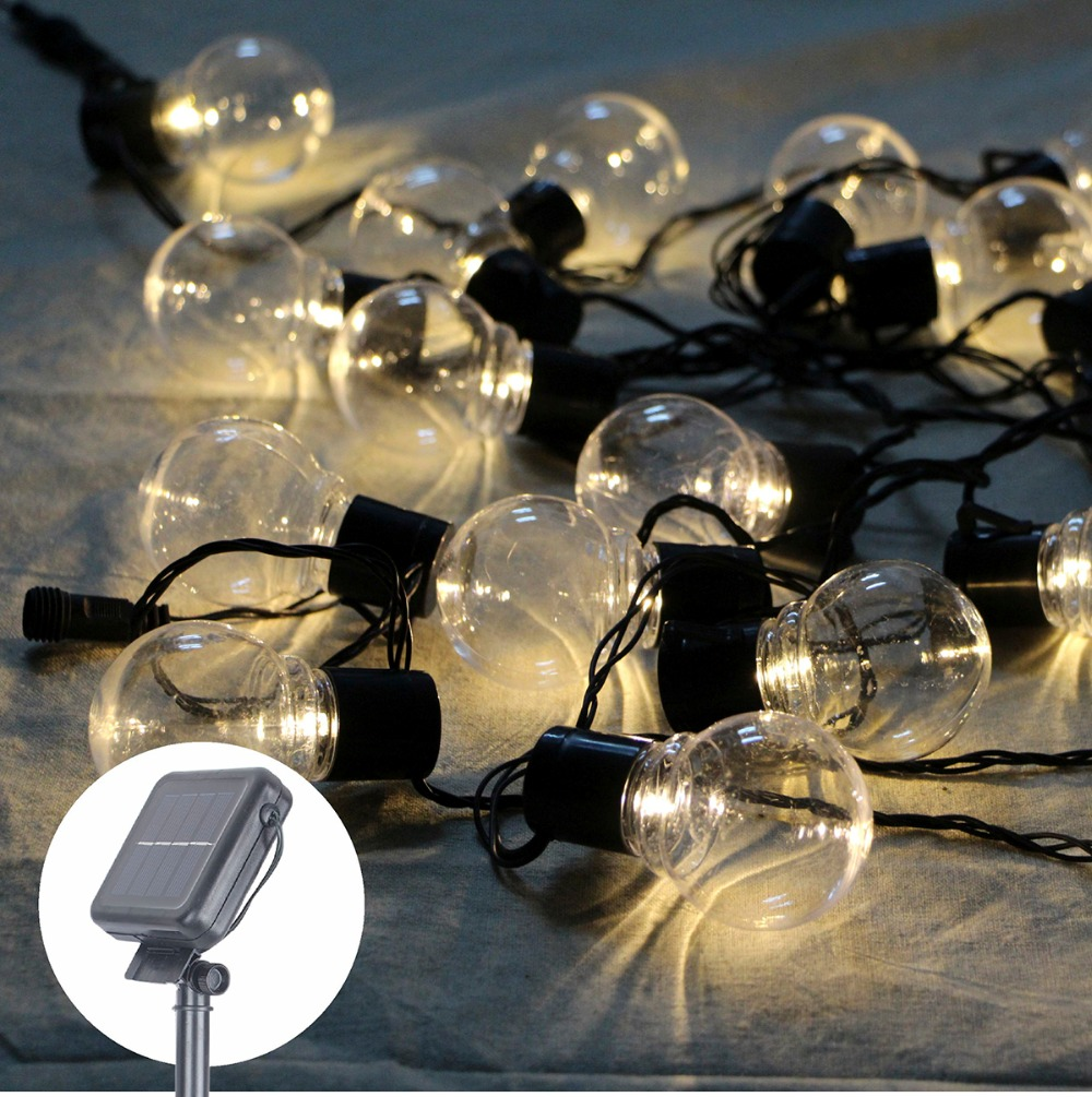 Outdoor Bistro Solar Powered Globe String Lights: Outdoor 20 Leds String Fairy Light 8m Solar Power Globe