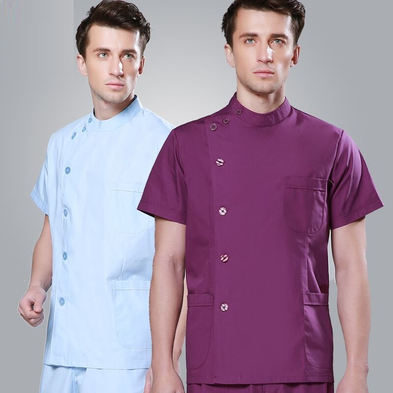 (10 Set Top&pant) Nurse Clothing Split Set Short-sleeve Doctor Clothing Icu Blue Work Wear Lab Coat Scrub Shirt And Trousers