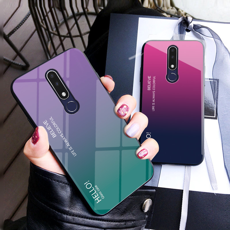 Image 2 - Gradient Tempered Glass Phone Case For Nokia X7 X6 X71 Colorful Case For Nokia 7.1 7 1 4.2 3.1 Plus Cover Coque Protective Capa-in Fitted Cases from Cellphones & Telecommunications