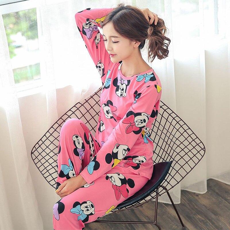 spring Autumn Pajamas Set Women Long Sleeve Cute cartoon print Sleepwear young Girl Pijamas Mujer Nightgown Thin casual homewear