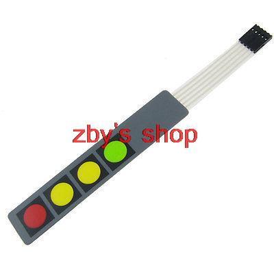 12V 1x4 4 Key Matrix Membrane Switch Keypad Keyboard 107x20x0.8mm