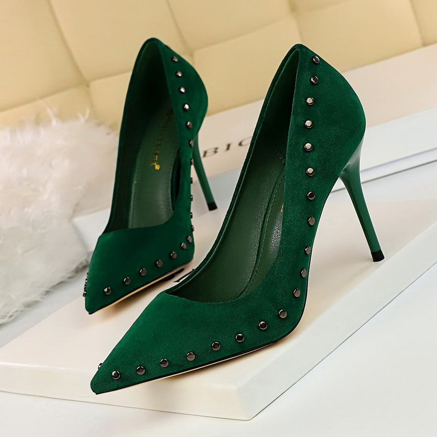 New Women Pumps Shoes Shallow Flock Pointed Toe Classical Slip-On Rivet 9cm Thin High Heels Sexy lady Club Party Female Shoes