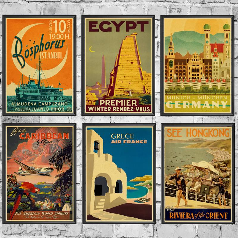 TRAVEL & RAILWAYS Posters Wall Stickers Retro Poster Prints High Definition For Livingroom Home Decoration