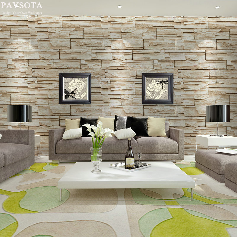 korean stone background setting modern bed south 3d livingroom wall tv paper grain brick
