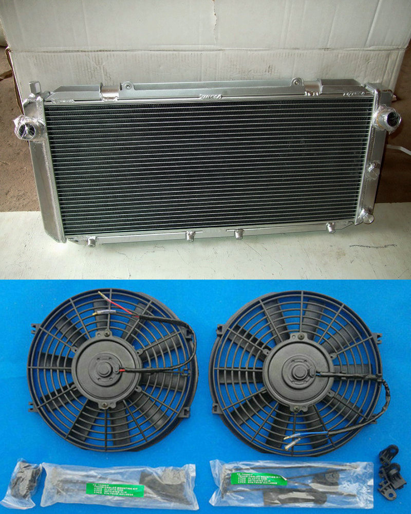 Aluminum Radiator 2 Fans For TOYOTA 1990 1999 MR2 MR 2 SW20 2 0 REV1 REV2