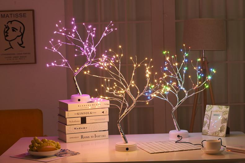 HobbyLane Modern Style USB Charge Copper Wire Tree Shape Night Light With Touch Sensor Switch