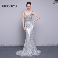 Real Photo Fashion V Neck Sleeveless Sequin Mermaid Long Prom Dresses 2018 Backless Bead Floor Length Party Prom Gowns A031