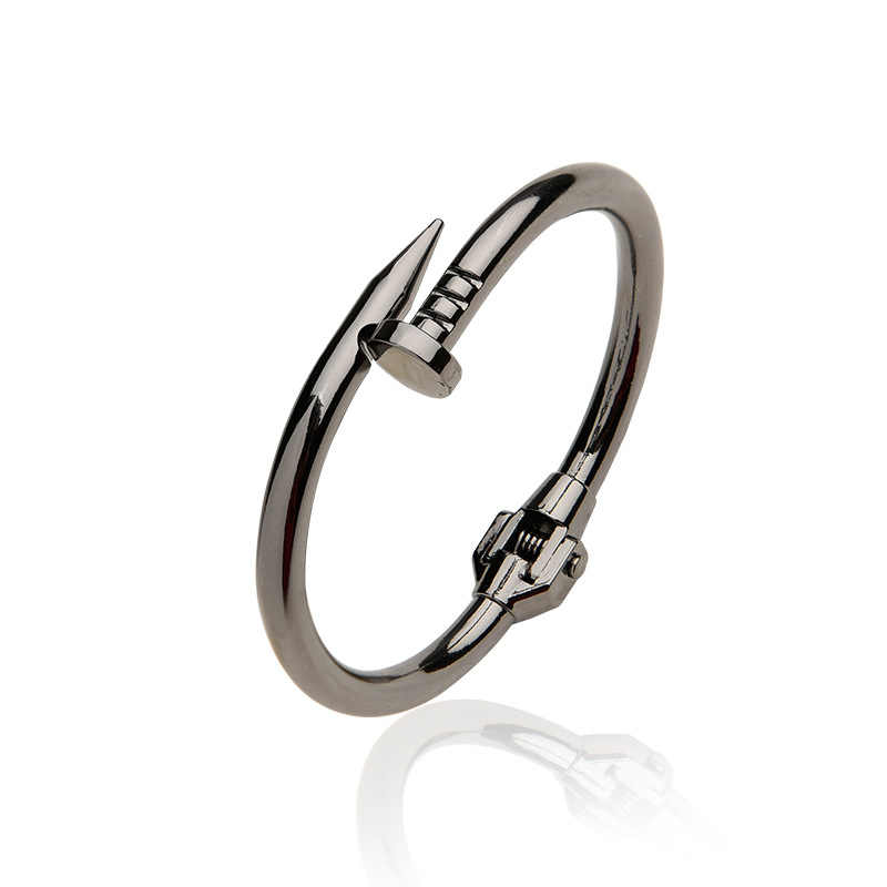 Women Titanium Stainless Steel Spring Nail Bracelets&Bangles Black Screw Cuff Bangle Bracelets Party Jewelry