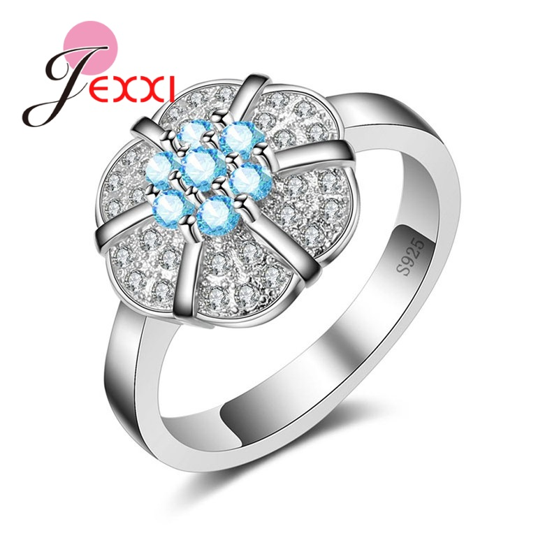 JEXXI Created Noble Bague Bijoux Ring 925 Sterling Silver Rings Wedding Jewelry For Wommen Girlfriend Gift.