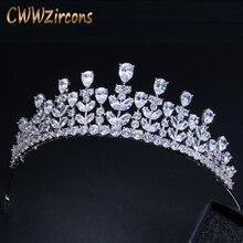 CWWZircons Diadema de circonia cúbica de Zirconia cúbica, elegante reina de la belleza, joyería grande, Tiaras de desfile nupcial de boda y corona para novias A005