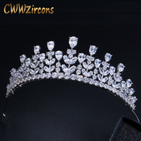CWWZircons Elegant Beauty Queen CZ Cubic Zirconia Headband Jewelry Large Bridal Wedding Pageant Tiaras And Crown for Brides A005