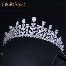 Cwwzircons 우아한 아름다움 여왕 cz 입방 지르코니아 머리띠 보석 큰 신부 결혼식 미인 대회 티아라와 크라운 신부 a005