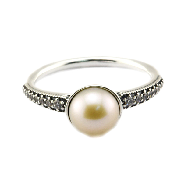Elegant Beauty Ring With Lustrous Pearl And Sparkling Stone Rings Sterling-Silver Woman Jewelry Rings Wholesale Woman Jewelry