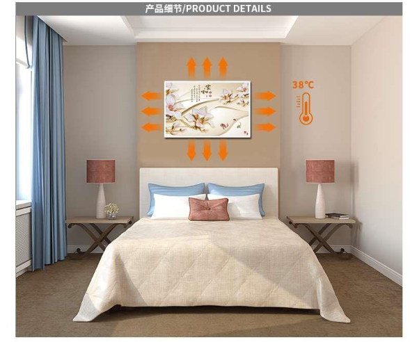 Peinture électrique en cristal de carbone montage mural chauffage domestique radiateurs électriques infrarouges panneaux de chauffage