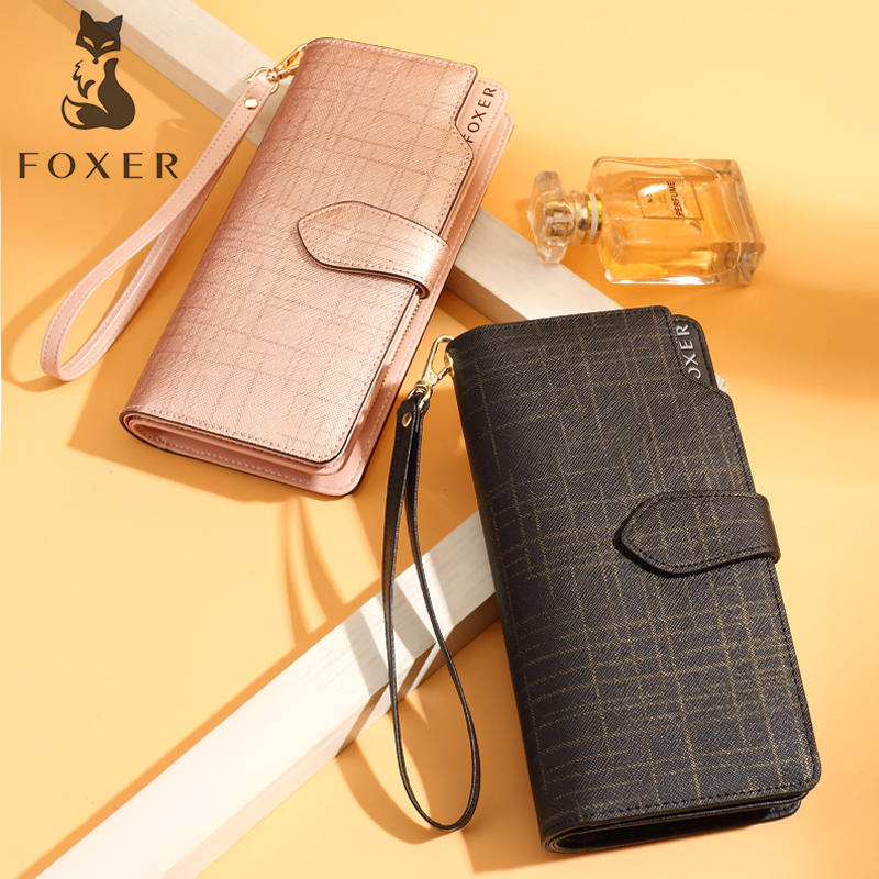 FOXER Long Wallet Clutch-Bag Card-Holder Coin-Purse Fashion Luxury Brand Women for