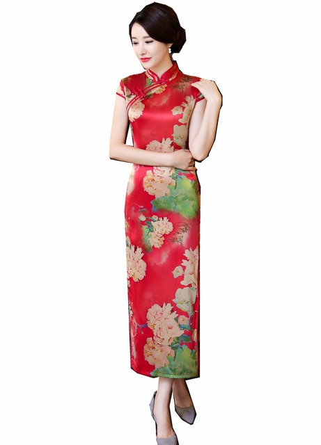 700ccedd8 Shanghai Story Chinese Style Clothing oriental dress long Cheongsam Short  Sleeve Floral Qipao ladies Chinese Oriental Dress