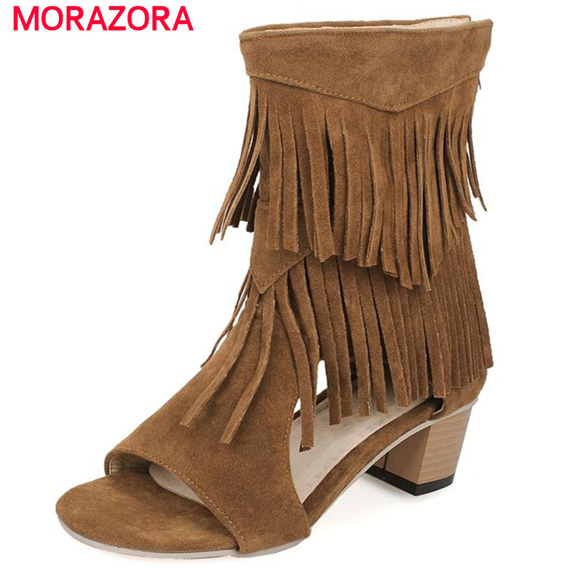MORAZORA Big size 34-45 peep toe women shoes hig heels tassel zipper ankle boots nubuck leather cool boots summer shoes as19 h1g as19 hig