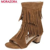 MORAZORA Big size 34 45 peep toe women shoes hig heels tassel zipper ankle boots nubuck leather cool boots summer shoes