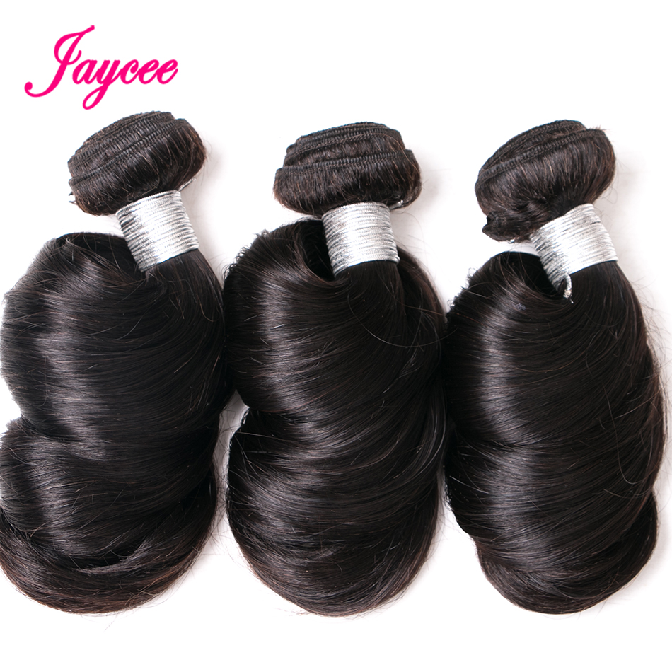 Jaycee Hair Peruvian Loose Wave Natural Color Remy Hair 100% Human Hair Weave Bundles Extension Suitable Dying All Colors