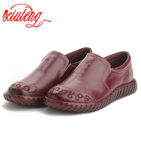 Xiuteng 2018 Spring Original Handmade Genuine Leather Shoes Cow Leather Shoes Peas Flat Soft Bottom Mother