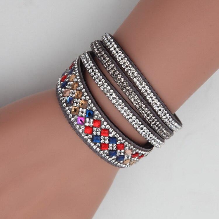 Meajoe Trendy Women Men Multilayer Rhinestone Slake Leather Bracelet Vintage Charm Crystal Long Bracelets Jewelry For Women Gift 3