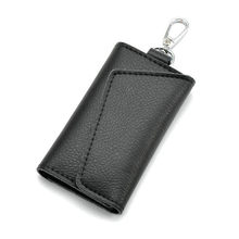 Hot Sell Key Holder Wallet 100% Genuine Leather  Key Bag Unisex Solid Organizer Bag Car Housekeeper Wallet Card Holder QB67