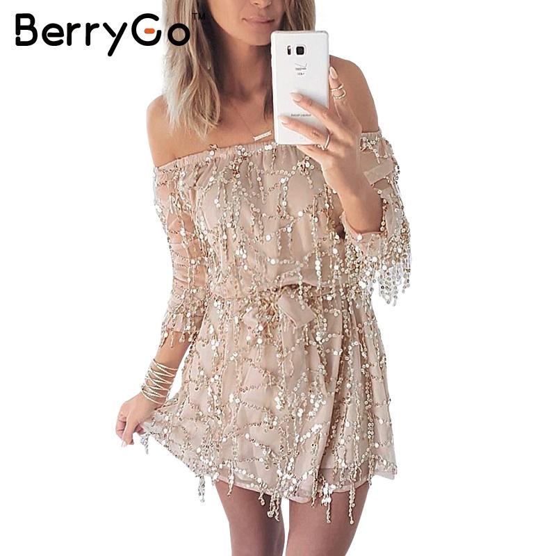 BerryGo Sexy off shoulder sequin tassel summer dress beach party short dress Women backless long sleeve vintage dress vestidos