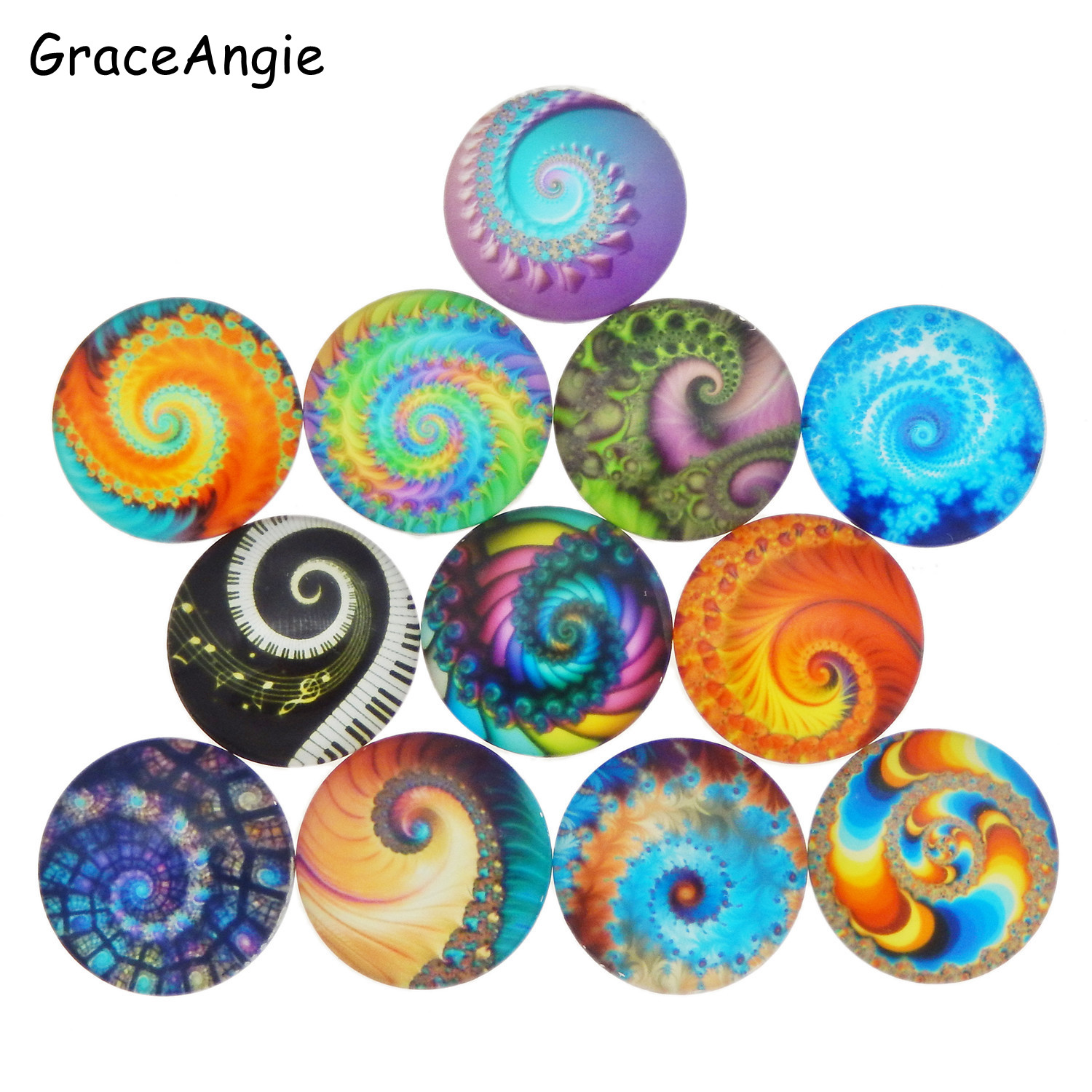 20pc Round Photos Glass Cabochon Mixed Pattern fit 8mm 10mm 12mm 25mm 30mm Cameo Base Setting Jewelry Components Photo Cameo DIY