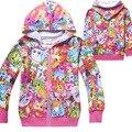 2016 nova moda meninas crianças zip se jaqueta com capuz manga comprida com capuz Jumper casacos Hoodies bordado casaco