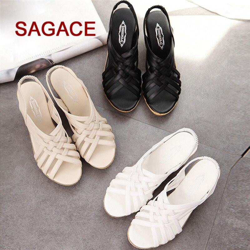Frauen Sandalen Frauen Schuhe Hb @ Frau Hohe Plattformen Strand Schuhe Muster Karierten Gürtel Gladiator Sandale Schuhe P # Dropship 08241 Zahlreich In Vielfalt