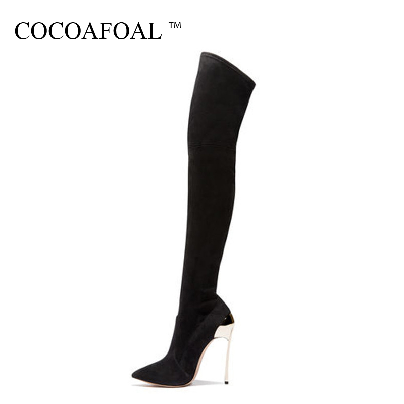 COCOAFOAL Womens Thigh High Boots Sexy Winter Woman High Heel Shoes Plus Size 33 43 Black Fashion Sexy Over The Knee Boots 2018COCOAFOAL Womens Thigh High Boots Sexy Winter Woman High Heel Shoes Plus Size 33 43 Black Fashion Sexy Over The Knee Boots 2018
