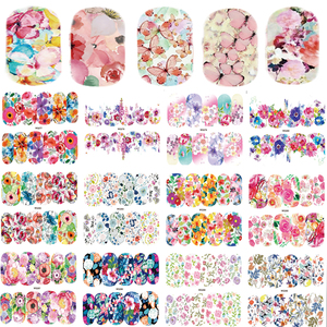Image 1 - 25 Sheets Nail Art Sticker Sets Mixed Color Flower Full Water Decals Butterfly Slider Stickers For Polish Manicure TRWG266 290