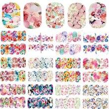 25 folhas de arte do prego adesivo conjuntos cor misturada flor decalques água cheia borboleta slider adesivos para manicure polonês TRWG266 290