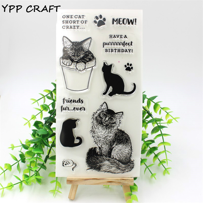 YPP CRAFT 1 Sheet Cats Transparent Clear Silicone Stamps for DIY Scrapbooking/Card Making/Kids Fun Decoration Supplies ypp craft post card transparent clear