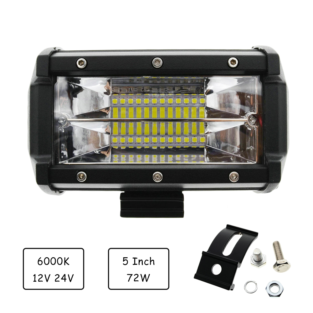 72W 5inch 2-Row Work Light Bar 6000K Flood Lamp Marine LED Day lighting for Jeeps Off-road SUVs Boats car accessaries