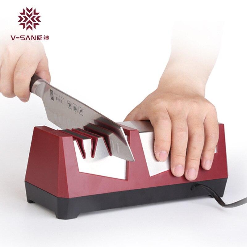 VISEN Professionnel de Haute qualité Couteau Électrique Aiguiseur Diamant Broyeur Couteau Machine Cuisine Accueil Automatique Rapide Sharpener Outil