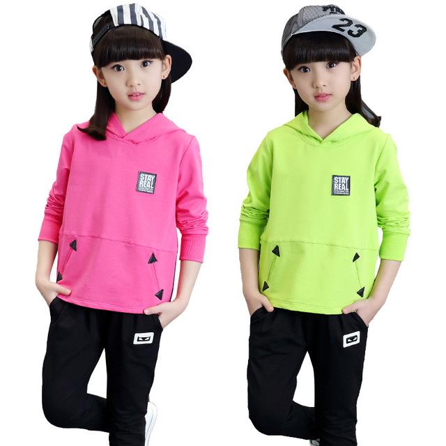 Conjuntos de Roupas meninas de Algodão de Manga Longa Hoodies & Pants 2 Pcs Esportes Primavera ternos Para Meninas Roupas 4 6 8 10 11 12 Anos de Treino