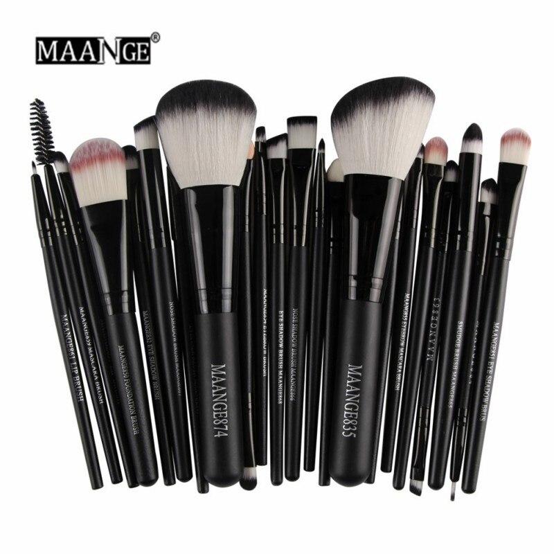 MAANGE 22 Pcs Pro Makeup Brush Kit Powder Foundation Eyeshadow Eyeliner Lip Make Up Brushes Set Beauty Tools Maquiagem
