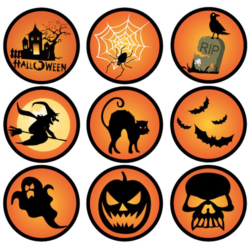 4 2cm mixed halloween patern paper gift stickers round cake sticker labels packaging wedding box stickers decoration 180pcs in party diy decorations from