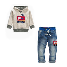 2016 autumn fashion Boys clothing sets Kids denim suit cotton Children's tracksuit sport set long sleeve sweatshirts/hoody+jeans
