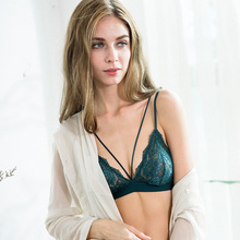 Sexy Mousse French black sexy Lingerie triangular cup ultra-thin hollow Bra Set lace wire free underwear breathable bra S M L XL