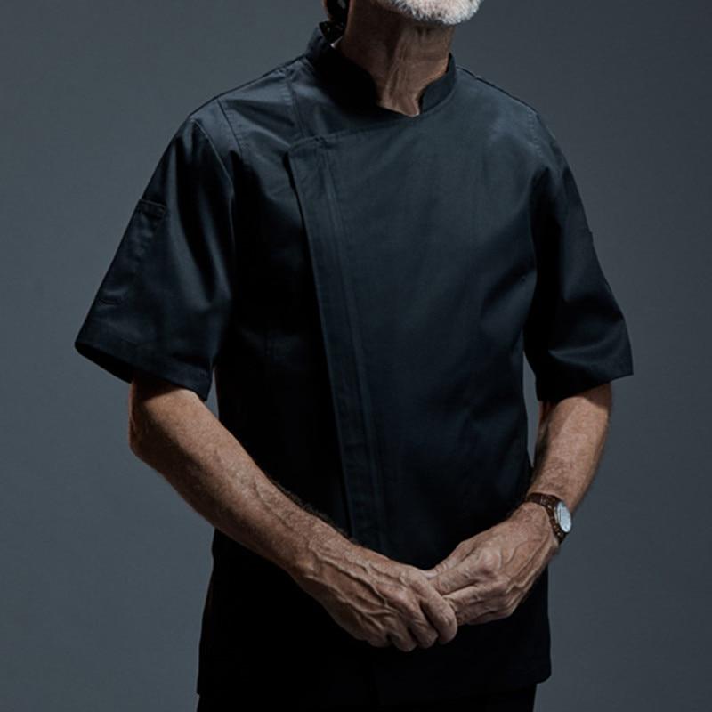 White Black Short Sleeve Shirt Hotel Restaurant Kitchen Chef Uniform Barista Bistro Diner Baker Bar Catering Work Wear B87