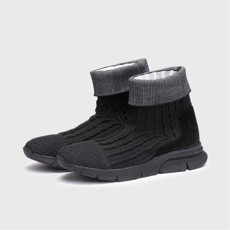 Básica Da Luxo Neve Mycolen Do Flats Sapatos Inverno Couro Preto Botas Moto Genuíno Respirável Homens Casuais De Tornozelo Formadores q4ERYzPv