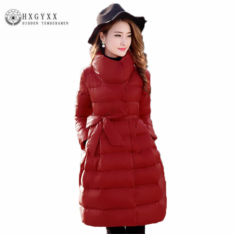 2017 Women Winter Down Cotton Coat Fashion Leisure Big yards Female Wadded Jacket Pure color lace-up New Thick Long Parka ZX0248 winter new fashion women coat leisure big yards thick warm cotton cotton coat hooded pure color slim fur collar jacket g2309
