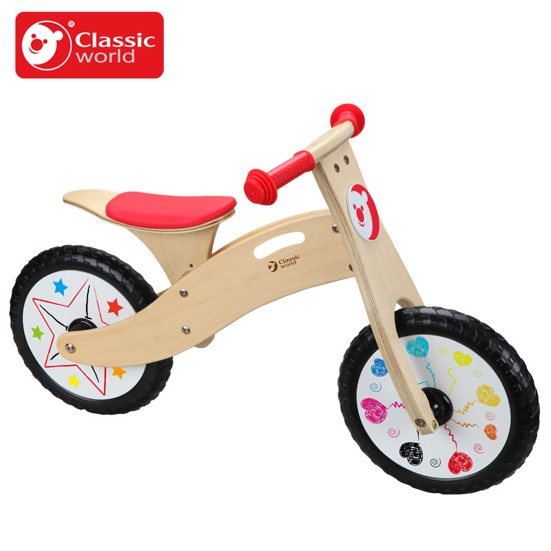 Classic World wooden rade on bike children balance ride on bicycle ride walker can take a step ...