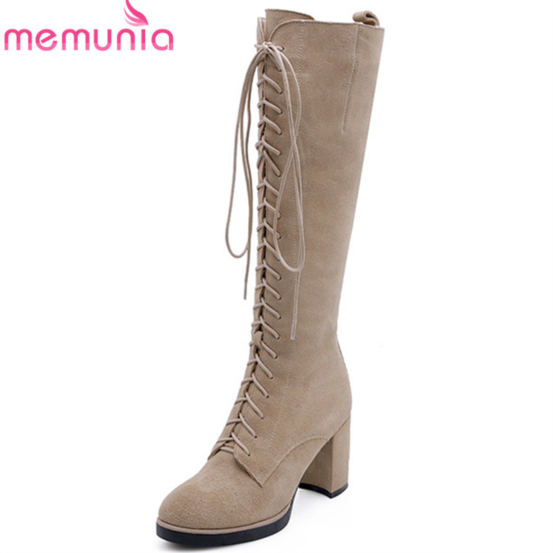 MEMUNIA 2018 new arrival knee high boots women round toe autumn winter boots zipper +lace up flock high heels shoes woman MEMUNIA 2018 new arrival knee high boots women round toe autumn winter boots zipper +lace up flock high heels shoes woman