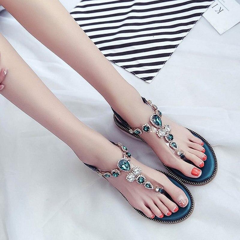 2018 sandalias planas de cuero del dedo del pie de la mujer del - Zapatos de mujer - foto 2
